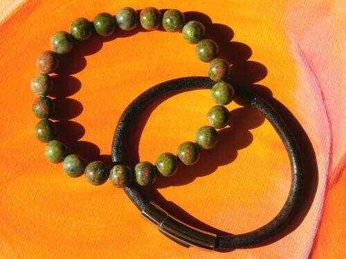 Para Hombre//Damas Con Cuentas Pulsera de piedras preciosas 8mm Set-Natural Unakite /& Cuero.