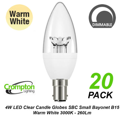 20 x 4W DIMMABLE LED Clear Candle Light Globes Bulbs Warm B15 Small Bayonet Cap