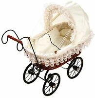 Basket Doll's Pram Antique Design Pushchair Baby Doll Kids Play Role Games