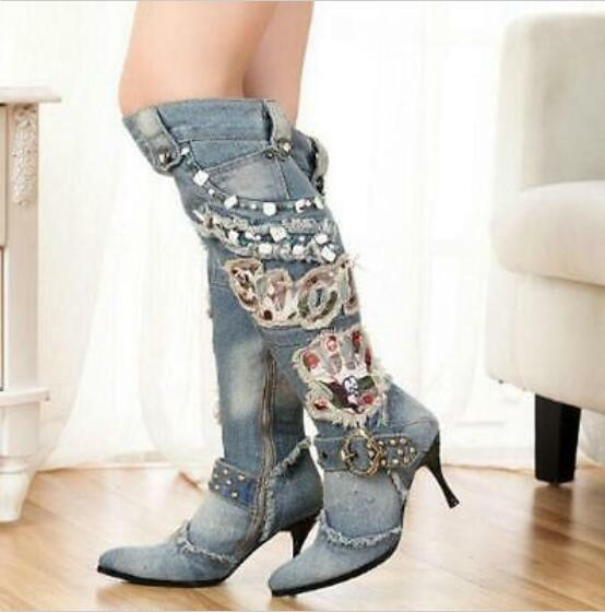 Punk Womens Vintage Side Zipper Denim bluee Rivet High Heel Knee Jean Boots A72