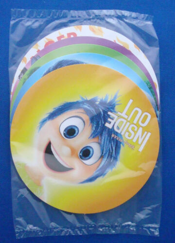 """Disney Inside Out round promo character 3/"""" cards Pixar 2015 set of 5 button pins"""
