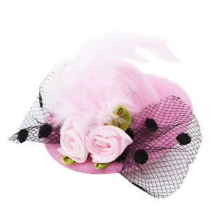 Various-Color-Little-Mini-Top-Hat-with-Rose-Feather-Dots-Veil-Party-Clip-SW