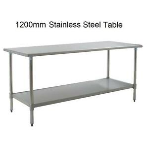 New stainless steel commercial kitchen table under shelf 120cm ebay - Industrial kitchen table stainless steel ...