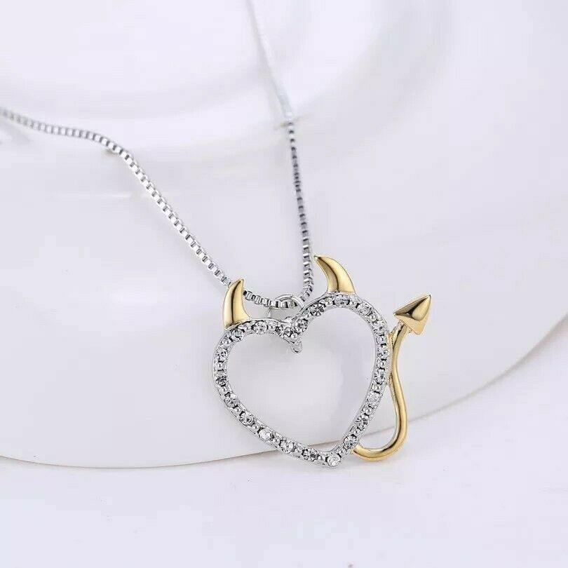 Silver Gold She Devil Horns Tail Heart Necklace Pendant