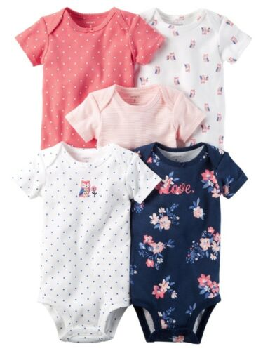 Carters Baby Girls 5-Pack Short Sleeve Original Bodysuits Owl Flowers