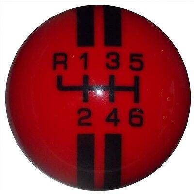 L 6 Speed shift knob M12x1.25 Rally White w// Black Stripes Mustang