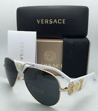 452fdc336 item 4 New VERSACE Sunglasses VE 2150-Q 1341/87 Gold & White Aviator Frames  Grey Lenses -New VERSACE Sunglasses VE 2150-Q 1341/87 Gold & White Aviator  ...