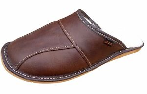 Men-039-s-Sheepskin-Wool-Brown-Leather-Slippers-Shoes-Size-7-11-Luxury-Moccasins