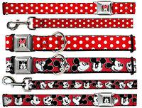 Buckle Down Seat Belt Dog Collar Leash - Mickey Minnie Mouse - Disney Red Black