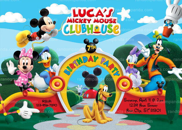 Mickey Mouse Clubhouse Invitation Mickey Mouse Birthday Party Invite