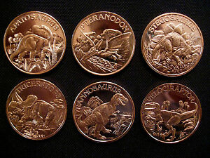 6 Ounce .999 Copper Round Dinosaur Set(6 Coins)