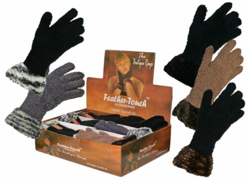 Womens//Ladies Luxury soft feather touch Boutique Gloves with Cuff