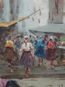 Vintage-Impressionist-Oil-Painting-Mid-Century-Modern-Landscape-Middle-Eastern