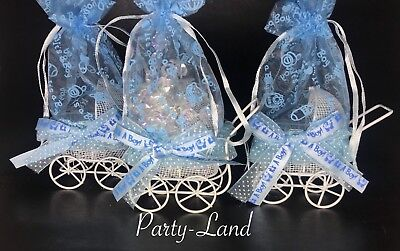 12 Blue It's a Boy fillable Carriages metal Baby Shower Favor Party Decorations