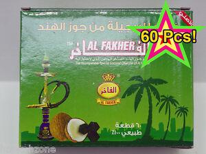 60 Pcs Al Fakher Natural Coconut Hookah Coals Shisha Charcoal Odorless Coco Nara