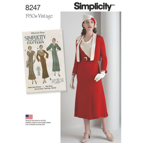 1930s House Dresses    LOVELY RETRO VINTAGE 1930s DRESS & JACKET SIMPLICITY PATTERN 8247 SIZE 6-22 NEW $8.99 AT vintagedancer.com