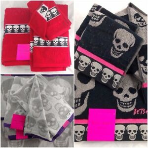 Betsey-Johnson-Skull-Bath-Towel-Sets-Mix-amp-Match-Hand-Towel-Face-Wash-Cloth