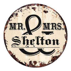 CPF-0313-MR-amp-MRS-SHELTON-Circle-Sign-Rustic-Tin-Bar-Home-Man-Cave-Gift