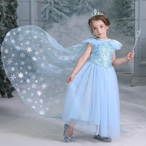 Kids Girls Princess Queen Elsa Cosplay Costume Party Birthday Fancy Dress Cape