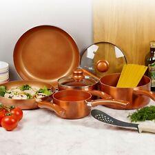 5 PC Metal URBN-CHEF Ceramic Copper Induction Cook Saucepan Frying Pan Pot Set