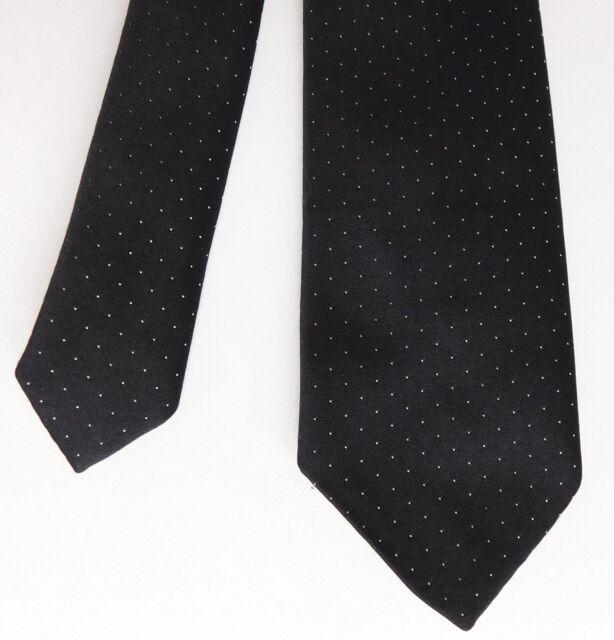 Pecci skinny polka dot tie Black and white vintage 1970s 1980s British narrow