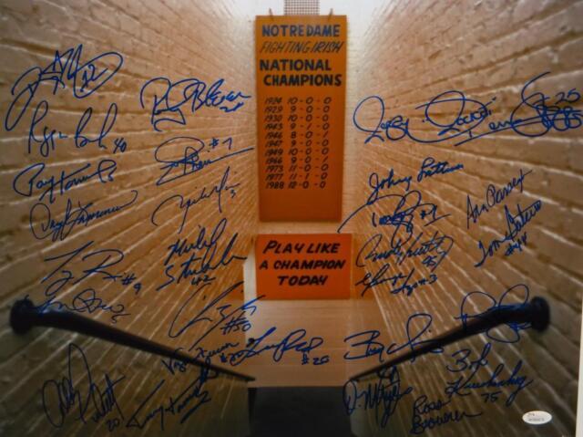 Notre Dame Greats 27 Signatures Autographed 16x20 Tunnel Shot Photo Jsa W Auth Ebay