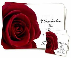 'if Grandmothers Were Roses' Twin 2x Placemats+2x Coasters Set In Gift, Gra-r5pc