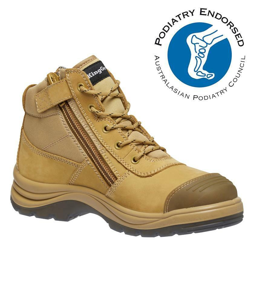 work boots tradie KingGee K27125 zip side wheat work shoes safety toe  Leather