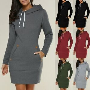 UK-Womens-Hooded-Sweatshirt-Long-Sleeve-Sweater-Ladies-Hoodies-Jumper-Mini-Dress