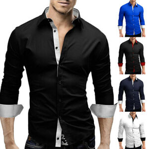 Fashion-Men-039-s-Luxury-Long-Sleeve-Shirt-Casual-Slim-Fit-Stylish-Dress-Shirts-Tops