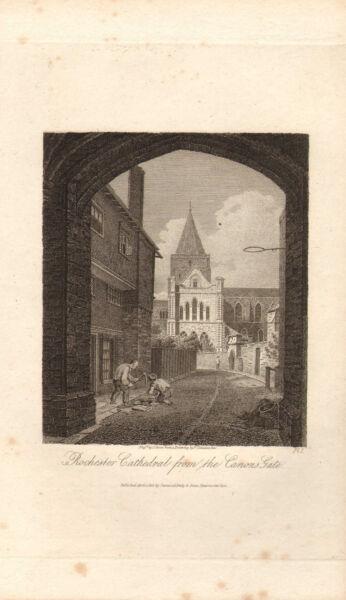1816 Georgian Daté Print ~ Rochester Cathédrale De La Porte Canons