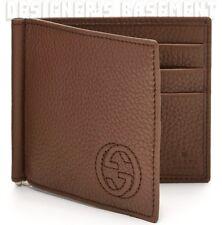 GUCCI Mens chestnut SOHO Interlocking G MONEY CLIP bifold wallet NIB Authentic!