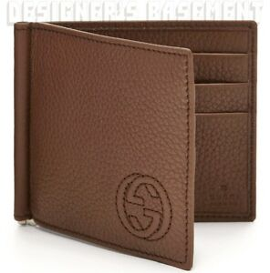 fff660a358bb GUCCI Mens chestnut SOHO Interlocking G MONEY CLIP bifold wallet NIB ...
