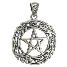 Sterling Silver Oak Tree Leaf Pentacle Pentagram Pendant Wiccan Pagan Jewelry