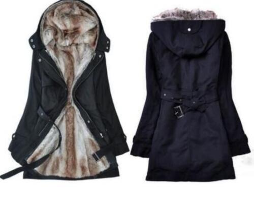 Damen 2in1 WinterJacken Wintermantel Kapuzenjacke Mantel Parka Trench Coat LP