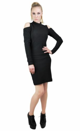 Women/'s Black Grey Winter Warm High-Neck Cut Out Shoulder Bodycon Fit Mini Dress