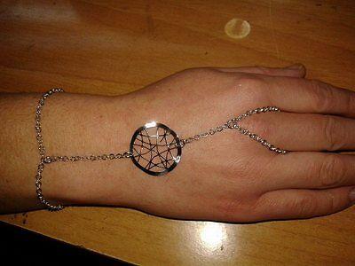 baciamano gioiello argento 925 BACIA MANO BRACCIALE ANELLO rings bracelet 18 cm