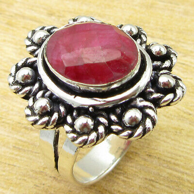 Engagement Rings 925 Silver Plated Jewellery Wholesale Price Simulated Ruby Gem Ring Size 8.25