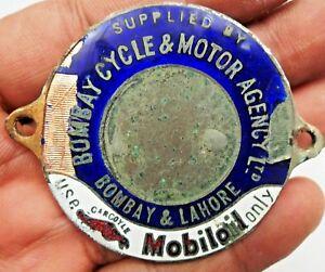 Vintage-Mobiloil-Advertise-Sign-Badge-Bomby-Cycle-amp-Motor-Agency-Ltd-Porcelain-1