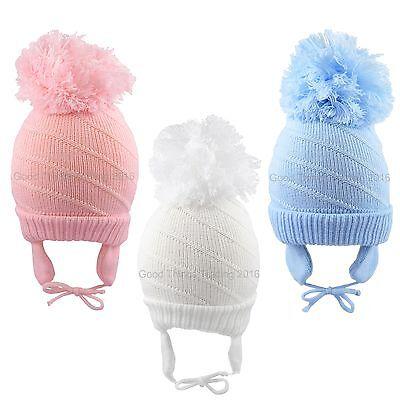 Diligente Baby Pom Pom Cappello Bobble Beanie Inverno A Maglia Chin Tie Flap Ragazzi/e 6-18 M-mostra Il Titolo Originale