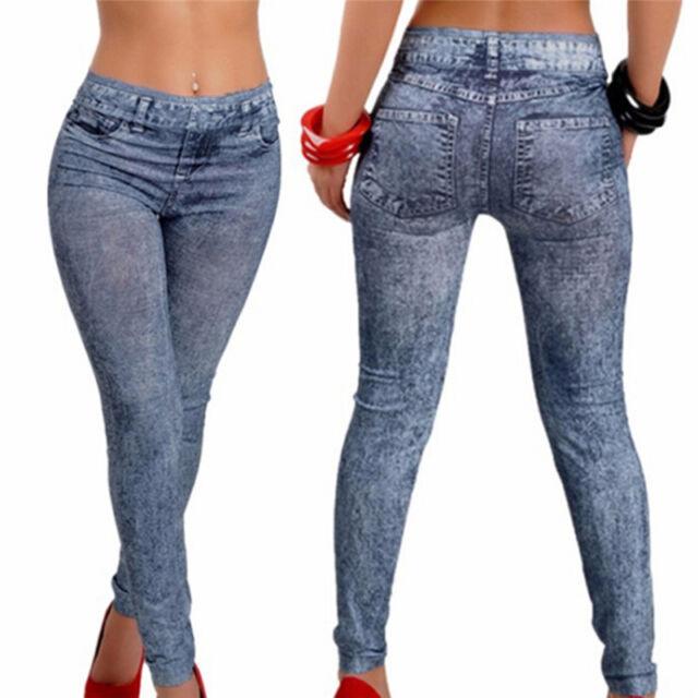 New Women Fashion Stretch Plus Jeans Lady's Denim Faux Jean Pants Sexy Legging E