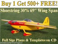 Shoestring 30% 69 Giant Rc Airplane Plans & Templates On Cd In Pdf Format