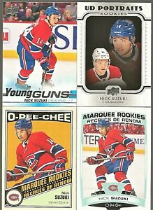 2019-20-UD-Series-2-Nick-Suzuki-RC-Lot-Young-Guns-O-Pee-Chee-Marquee-Portraits