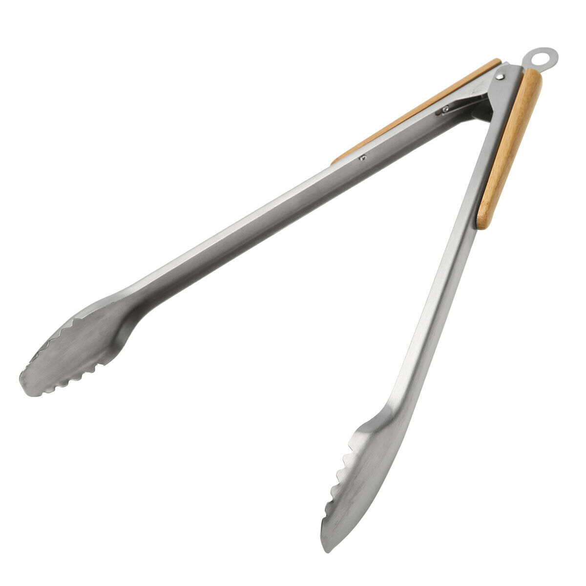Large Metal Barbecue Tongs With Wooden Handle Extra Long 34cm Outdoor Grill BBQ Serving Cooking Clamps
