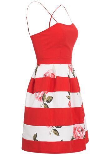 36/% OFF B17059060 Damen Violet Kleid kurz florales Muster Träger rot weiß