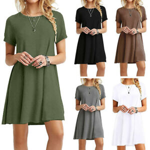 Women-039-s-Lady-Summer-Short-Sleeve-Casual-Loose-Sundress-Tops-Mini-T-shirt-Dress