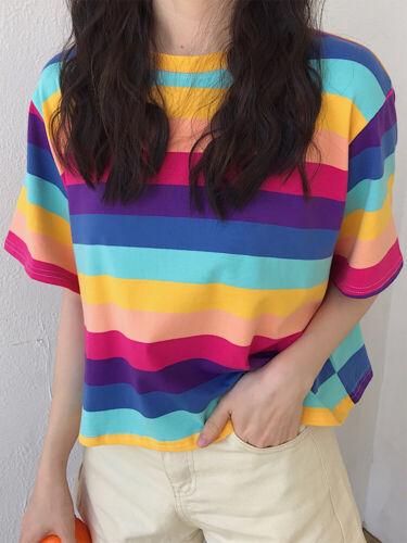 Women Girl Rainbow Stripe Harajuku T-shirt Casual Tops Shirt Short Sleeve Pink