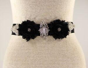 Black Bridal Sash, Wedding Dress Sash, Bridal Belt, Rhinestone Wedding Sash