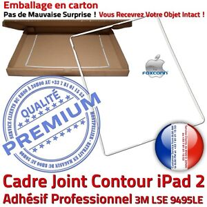 iPad2-Cadre-Blanc-Joint-Plastique-Contour-Vitre-Tactile-Chassis-Adhesif-Precolle