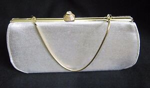 VINTAGE MID-CENTURY GOLD METAL AND SILVER COSMETIC CLUTCH PURSE